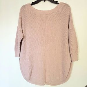 Express extreme circle hem sweater in Blush Pink